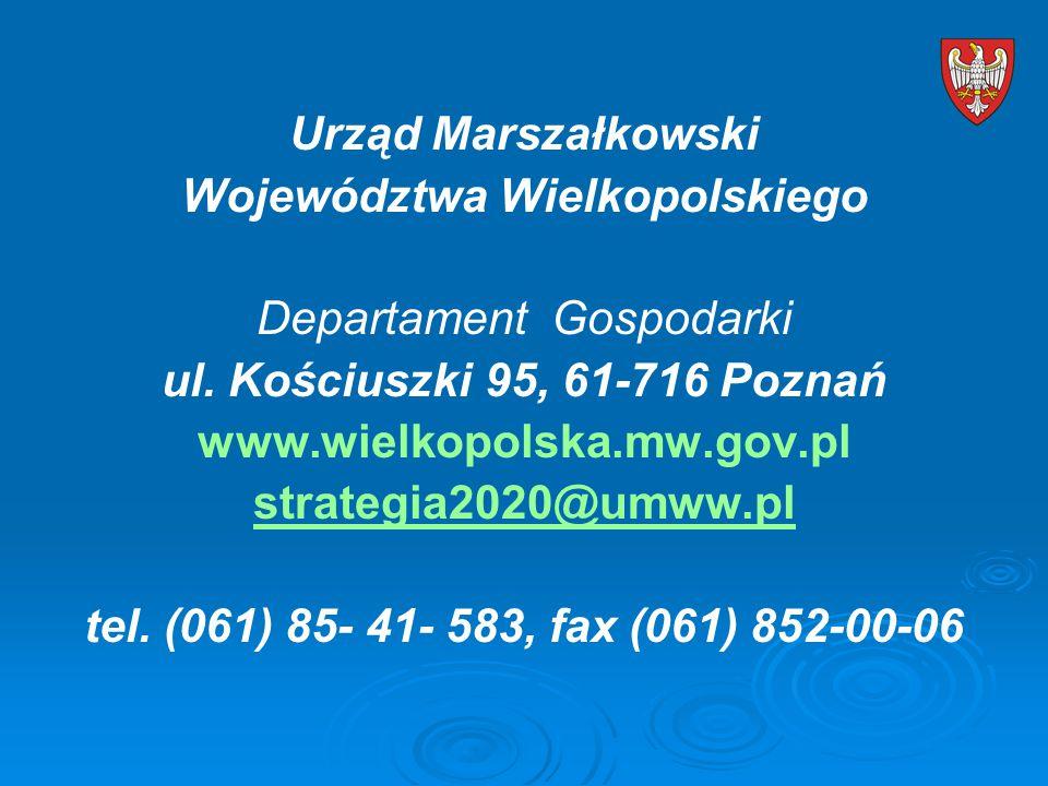 Urząd Marszałkowski Województwa Wielkopolskiego Departament Gospodarki ul.