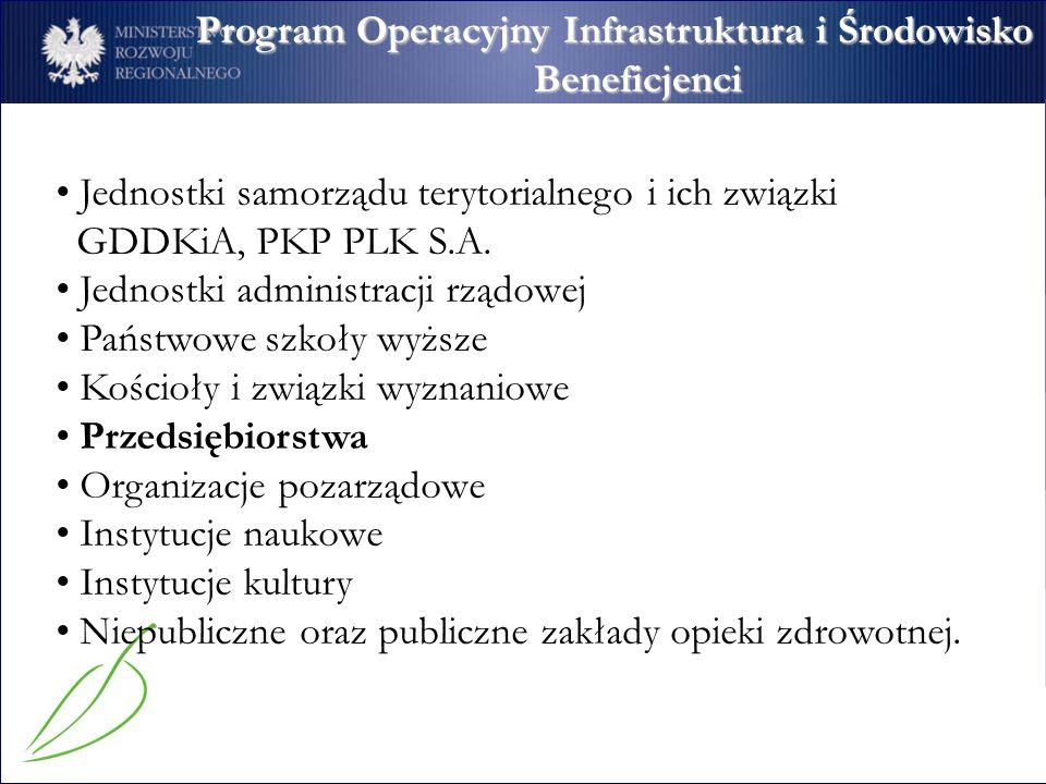 Program Operacyjny Infrastruktura i Środowisko Beneficjenci Jednostki samorządu terytorialnego i ich związki GDDKiA, PKP PLK S.A. Jednostki administra