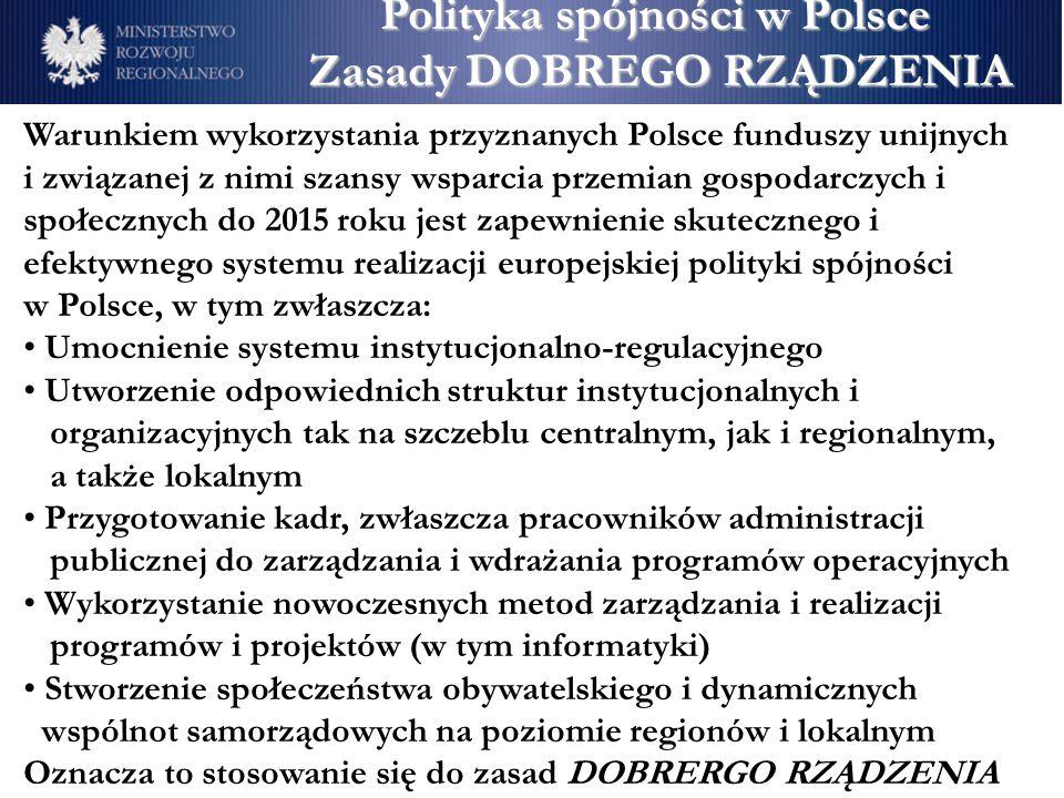 Warunkiem wykorzystania przyznanych Polsce funduszy unijnych i związanej z nimi szansy wsparcia przemian gospodarczych i społecznych do 2015 roku jest