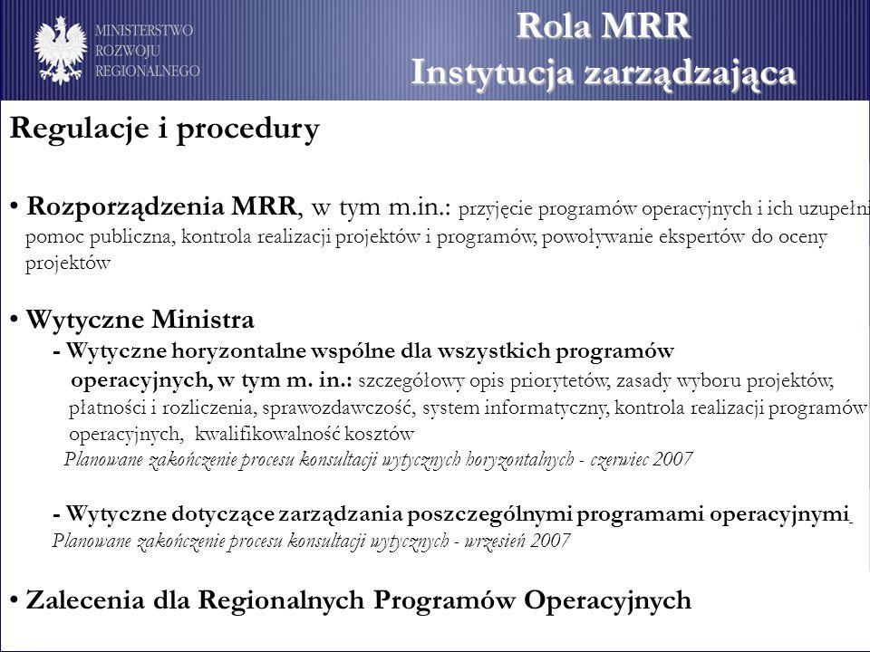 Rola MRR Instytucja zarządzająca Regulacje i procedury Rozporządzenia MRR, w tym m.in.: przyjęcie programów operacyjnych i ich uzupełnień, pomoc publi