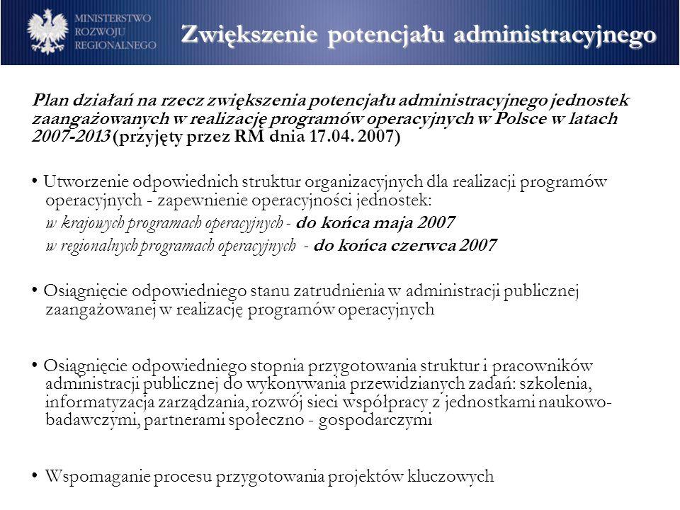 Plan działań na rzecz zwiększenia potencjału administracyjnego jednostek zaangażowanych w realizację programów operacyjnych w Polsce w latach 2007-201
