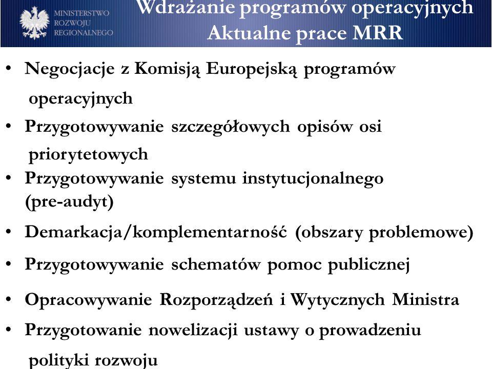 Wdrażanie programów operacyjnych Aktualne prace MRR Negocjacje z Komisją Europejską programów operacyjnych Przygotowywanie szczegółowych opisów osi pr