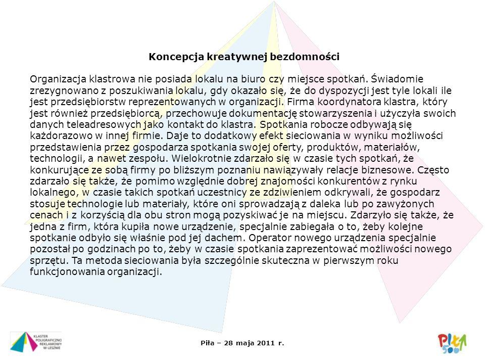 Piła – 28 maja 2011 r. Koncepcja kreatywnej bezdomności Organizacja klastrowa nie posiada lokalu na biuro czy miejsce spotkań. Świadomie zrezygnowano