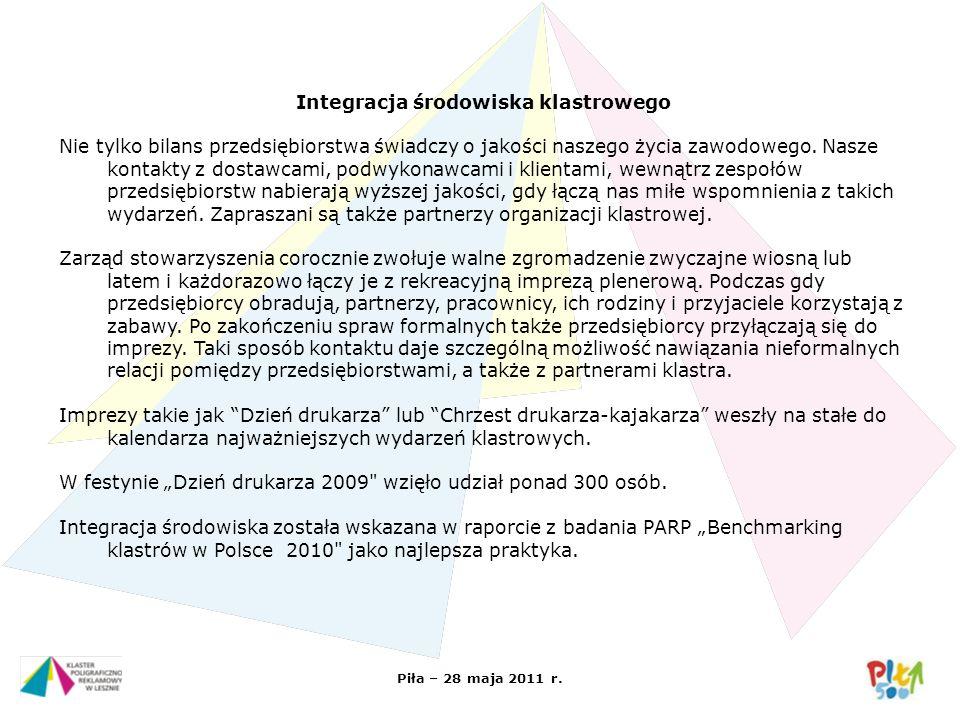 Piła – 28 maja 2011 r. Integracja środowiska klastrowego Nie tylko bilans przedsiębiorstwa świadczy o jakości naszego życia zawodowego. Nasze kontakty