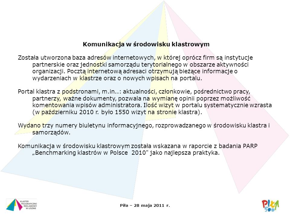 Piła – 28 maja 2011 r. Komunikacja w środowisku klastrowym Została utworzona baza adresów internetowych, w której oprócz firm są instytucje partnerski