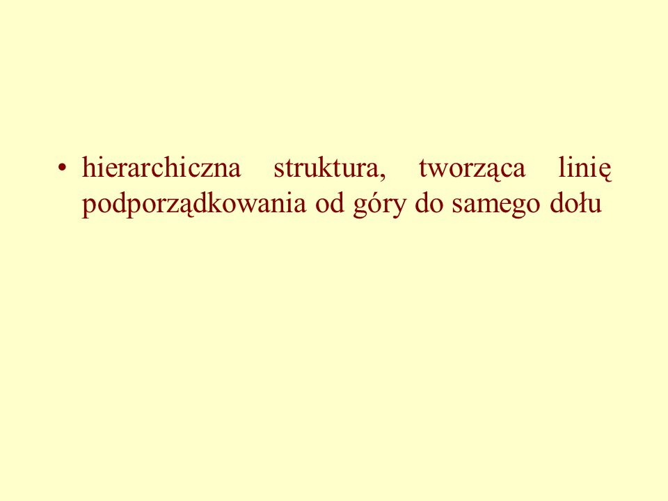 hierarchiczna struktura, tworząca linię podporządkowania od góry do samego dołu