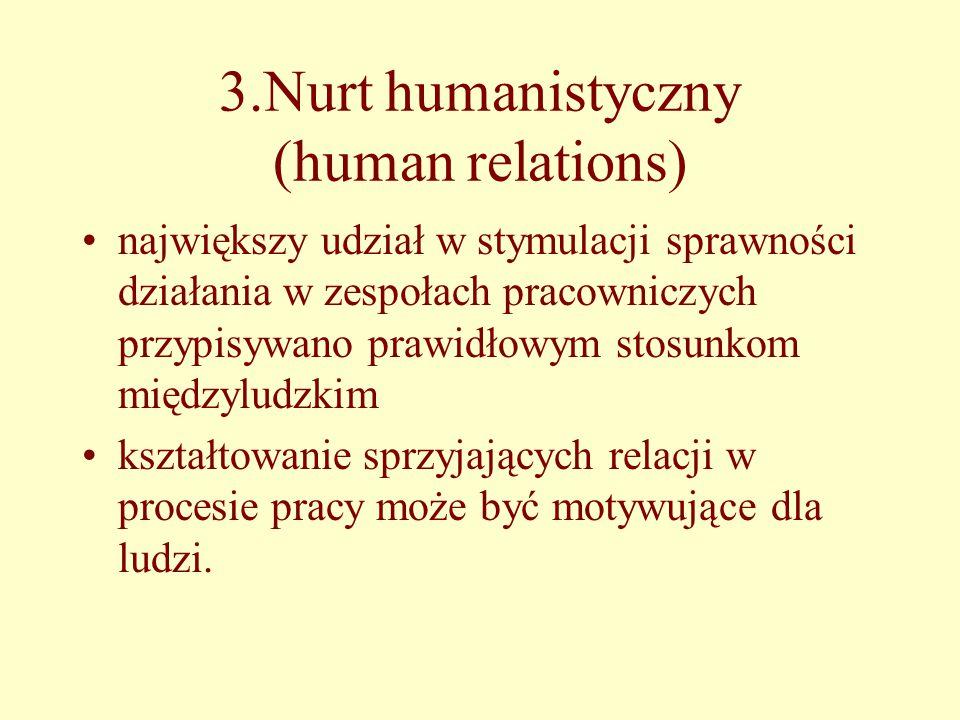 3.Nurt humanistyczny (human relations) największy udział w stymulacji sprawności działania w zespołach pracowniczych przypisywano prawidłowym stosunkom międzyludzkim kształtowanie sprzyjających relacji w procesie pracy może być motywujące dla ludzi.