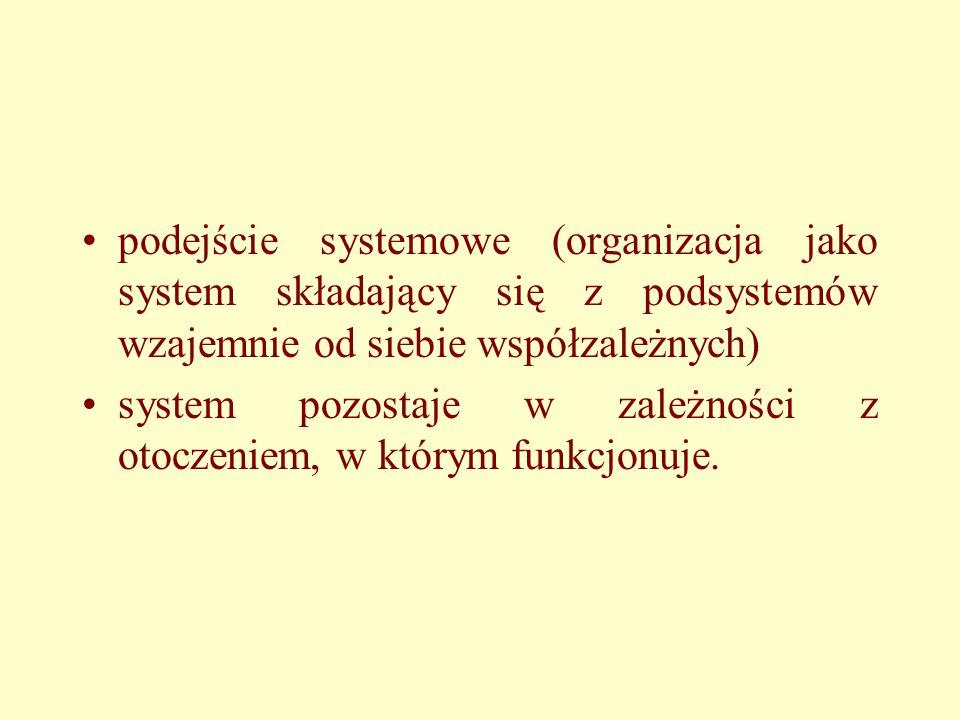 podejście systemowe (organizacja jako system składający się z podsystemów wzajemnie od siebie współzależnych) system pozostaje w zależności z otoczeniem, w którym funkcjonuje.