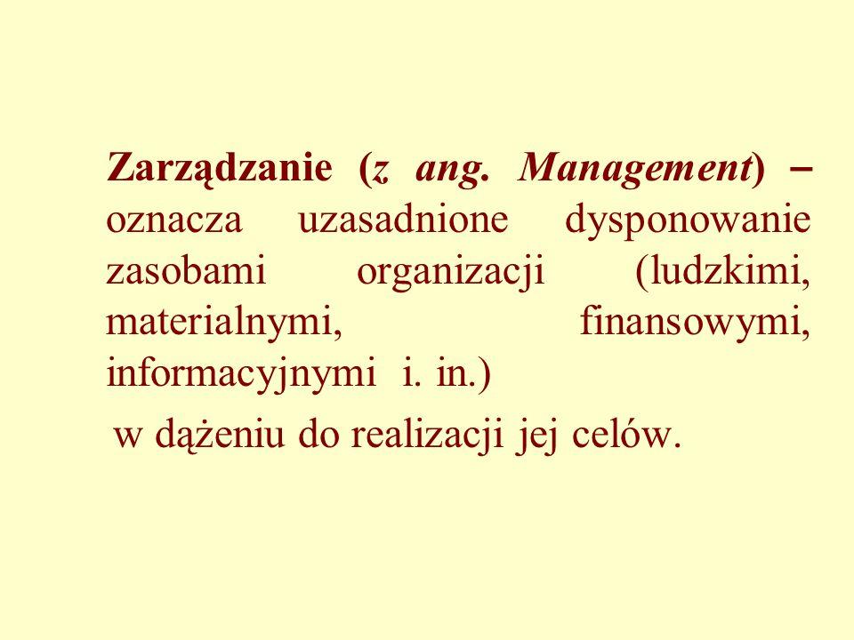 Zarządzanie (z ang. Management) – oznacza uzasadnione dysponowanie zasobami organizacji (ludzkimi, materialnymi, finansowymi, informacyjnymi i. in.) w