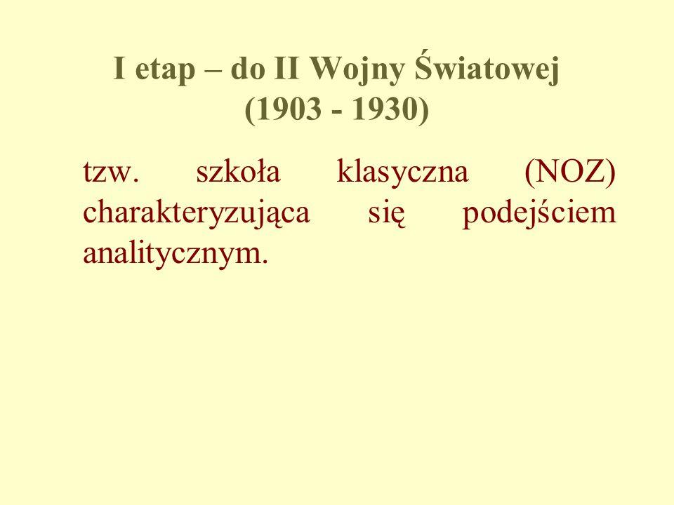 I etap – do II Wojny Światowej (1903 - 1930) tzw. szkoła klasyczna (NOZ) charakteryzująca się podejściem analitycznym.