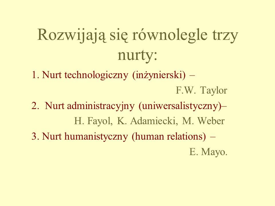 Rozwijają się równolegle trzy nurty: 1. Nurt technologiczny (inżynierski) – F.W. Taylor 2. Nurt administracyjny (uniwersalistyczny)– H. Fayol, K. Adam