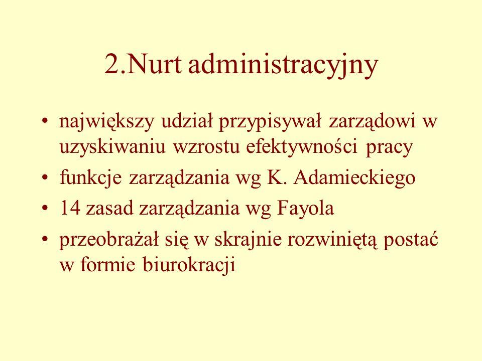 2.Nurt administracyjny największy udział przypisywał zarządowi w uzyskiwaniu wzrostu efektywności pracy funkcje zarządzania wg K.
