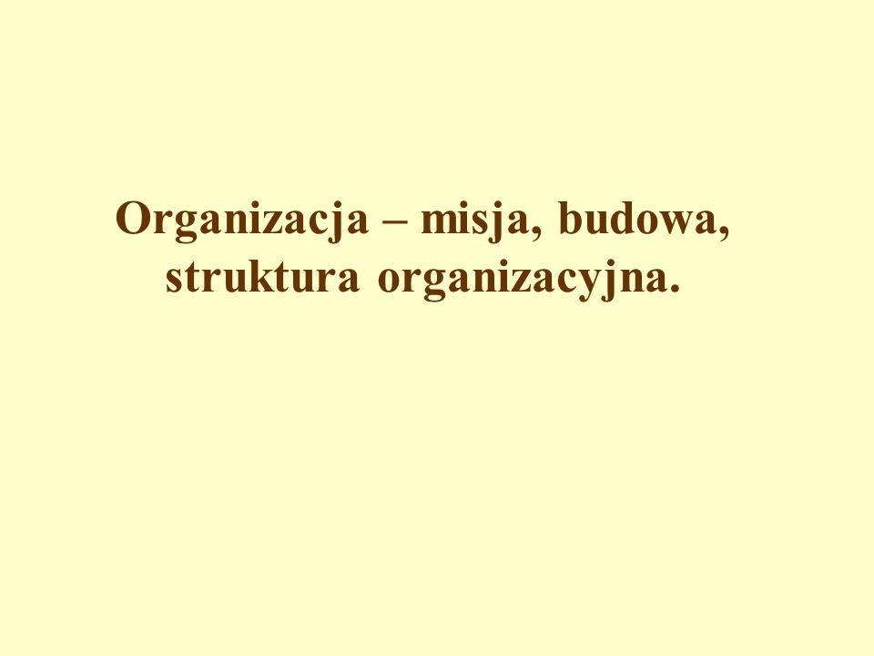 Organizacja – misja, budowa, struktura organizacyjna.