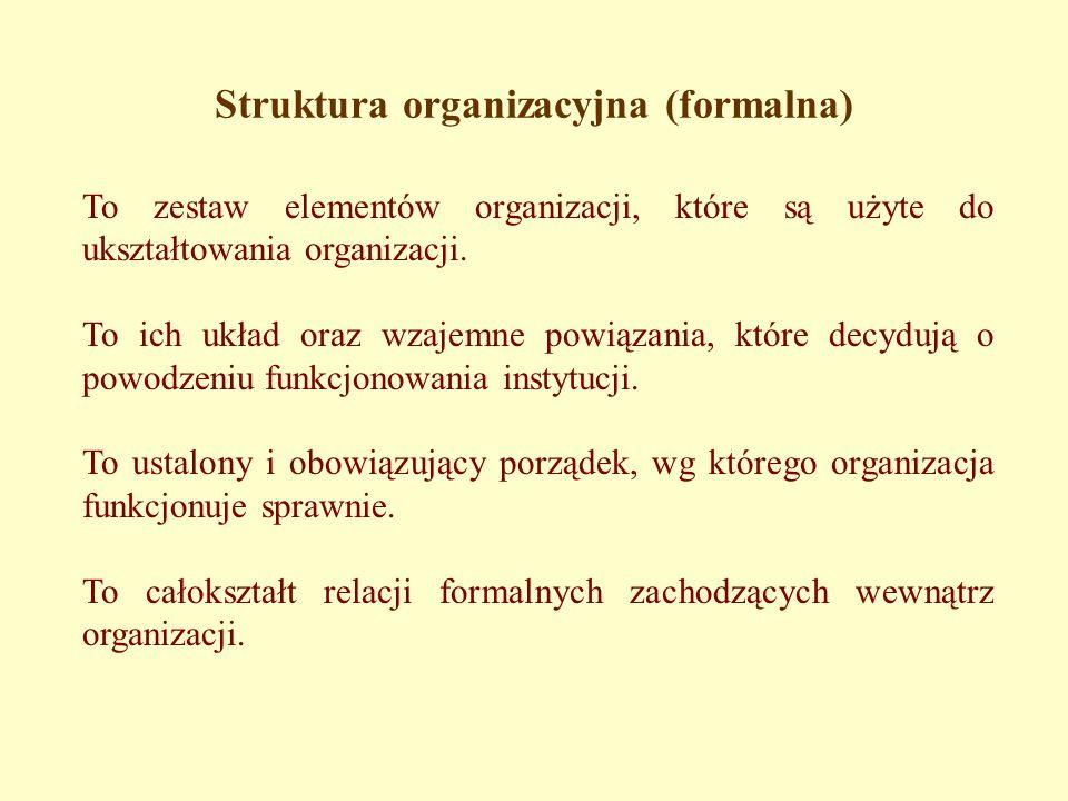 Struktura organizacyjna (formalna) To zestaw elementów organizacji, które są użyte do ukształtowania organizacji.