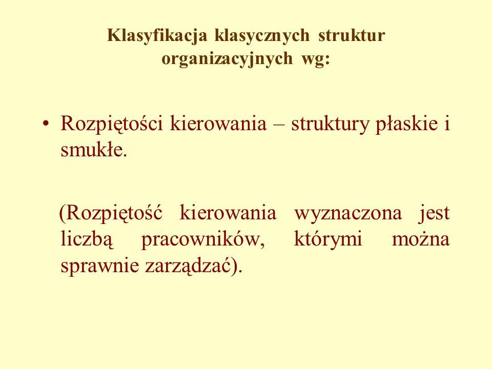 Klasyfikacja klasycznych struktur organizacyjnych wg: Rozpiętości kierowania – struktury płaskie i smukłe.