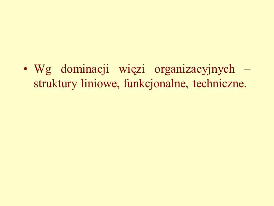 Wg dominacji więzi organizacyjnych – struktury liniowe, funkcjonalne, techniczne.