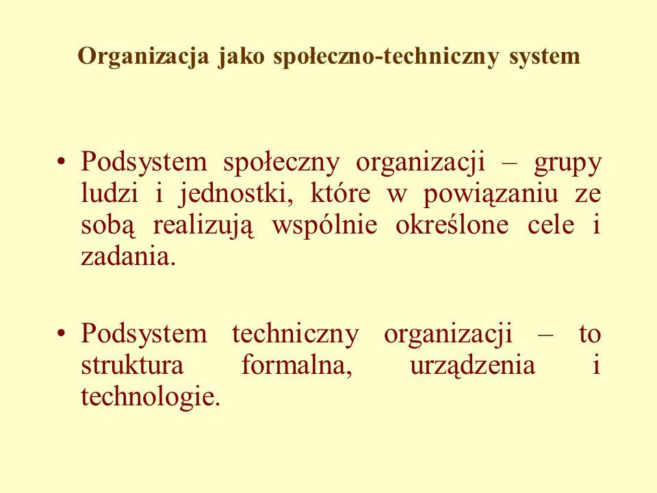 Organizacja jako społeczno-techniczny system Podsystem społeczny organizacji – grupy ludzi i jednostki, które w powiązaniu ze sobą realizują wspólnie określone cele i zadania.