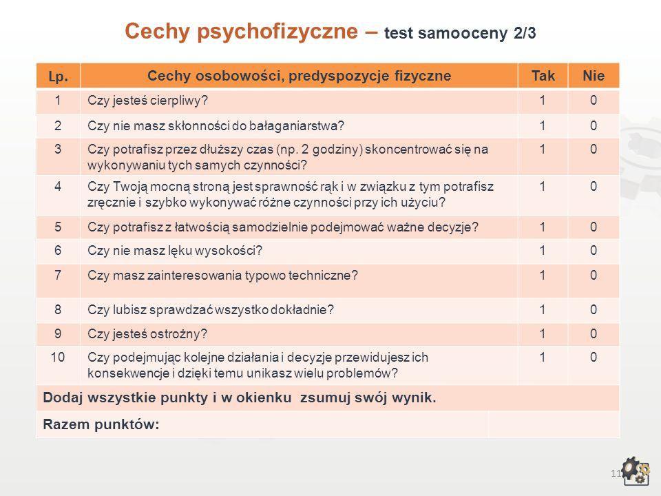 10 Cechy psychofizyczne Test samooceny 1/3 Decydując się na podjęcie pracy w zawodzie kominiarz, powinniśmy przede wszystkim wziąć pod uwagę swoje możliwości, cechy osobowości, zainteresowania, uzdolnienia, temperament i predyspozycje fizyczne.