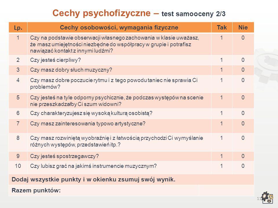 10 Cechy psychofizyczne Test samooceny 1/3 Decydując się na podjęcie pracy w zawodzie aktora scen muzycznych, powinniśmy przede wszystkim wziąć pod uwagę swoje możliwości, cechy osobowości, zainteresowania, uzdolnienia, temperament i predyspozycje fizyczne.