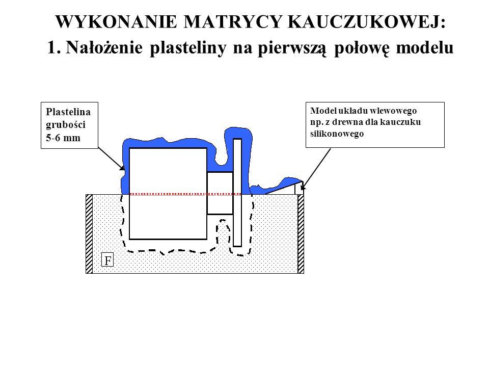 WYKONANIE MATRYCY KAUCZUKOWEJ: 1. Nałożenie plasteliny na pierwszą połowę modelu Plastelina grubości 5-6 mm Model układu wlewowego np. z drewna dla ka