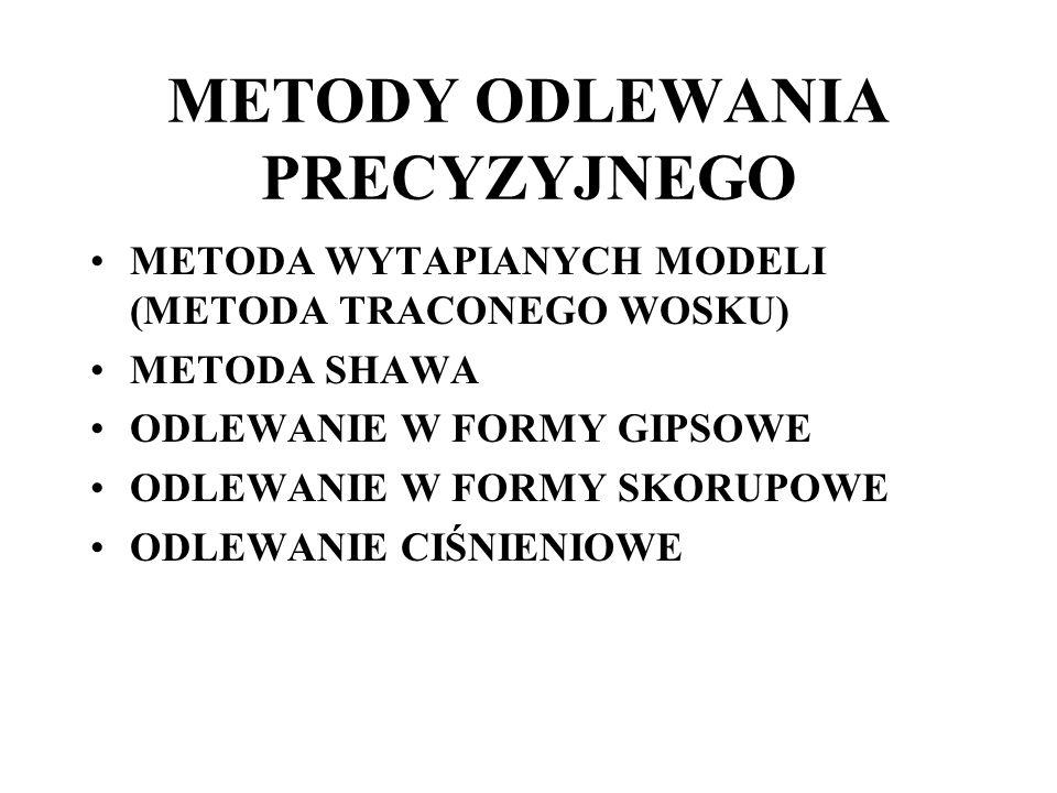 METODY ODLEWANIA PRECYZYJNEGO METODA WYTAPIANYCH MODELI (METODA TRACONEGO WOSKU) METODA SHAWA ODLEWANIE W FORMY GIPSOWE ODLEWANIE W FORMY SKORUPOWE OD