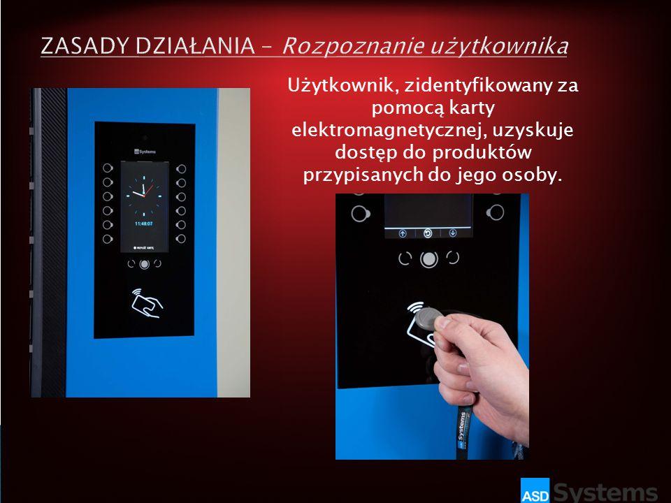 Użytkownik, zidentyfikowany za pomocą karty elektromagnetycznej, uzyskuje dostęp do produktów przypisanych do jego osoby.