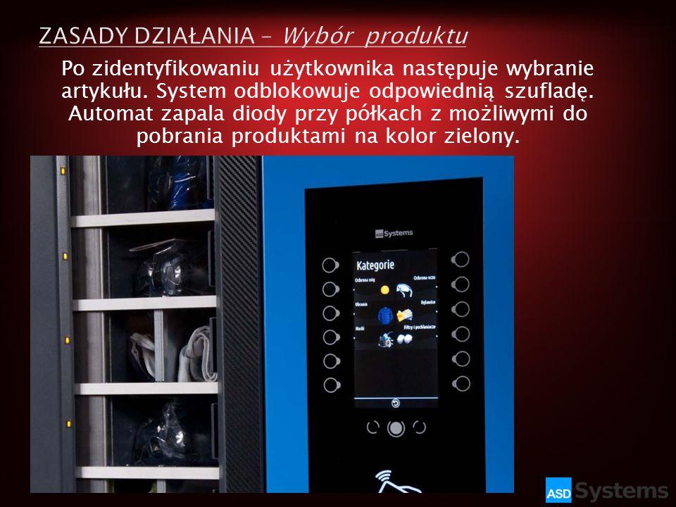 Po zidentyfikowaniu użytkownika następuje wybranie artykułu. System odblokowuje odpowiednią szufladę. Automat zapala diody przy półkach z możliwymi do