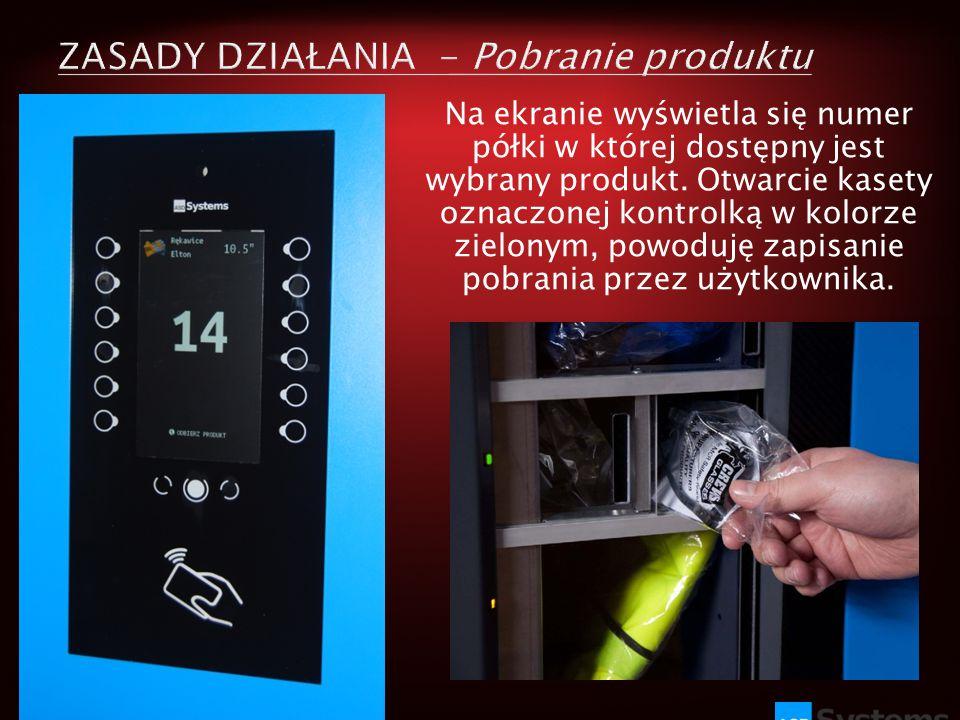 Na ekranie wyświetla się numer półki w której dostępny jest wybrany produkt. Otwarcie kasety oznaczonej kontrolką w kolorze zielonym, powoduję zapisan