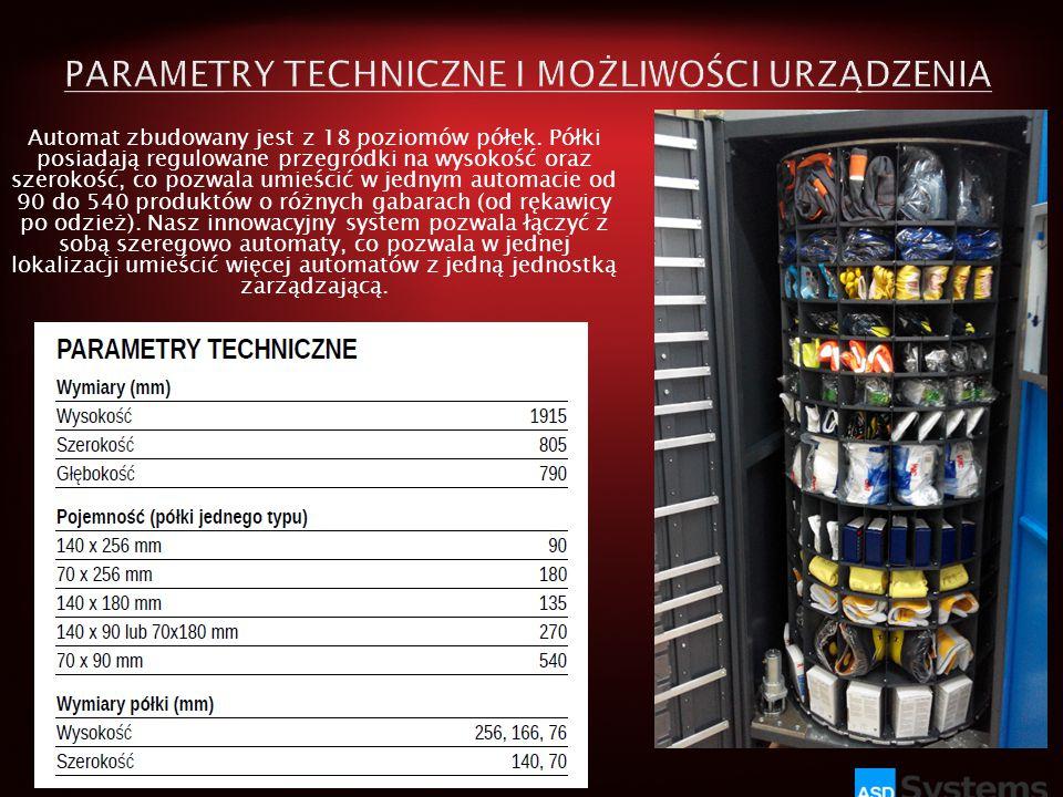 Automat zbudowany jest z 18 poziomów półek. Półki posiadają regulowane przegródki na wysokość oraz szerokość, co pozwala umieścić w jednym automacie o
