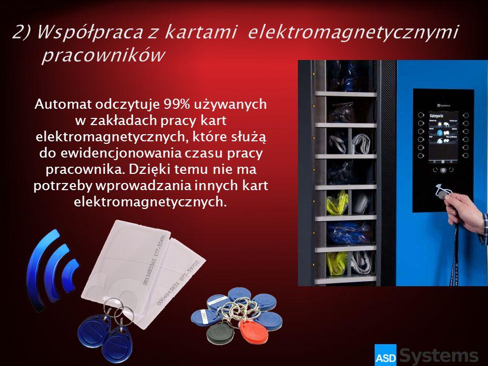 Automat odczytuje 99% używanych w zakładach pracy kart elektromagnetycznych, które służą do ewidencjonowania czasu pracy pracownika. Dzięki temu nie m