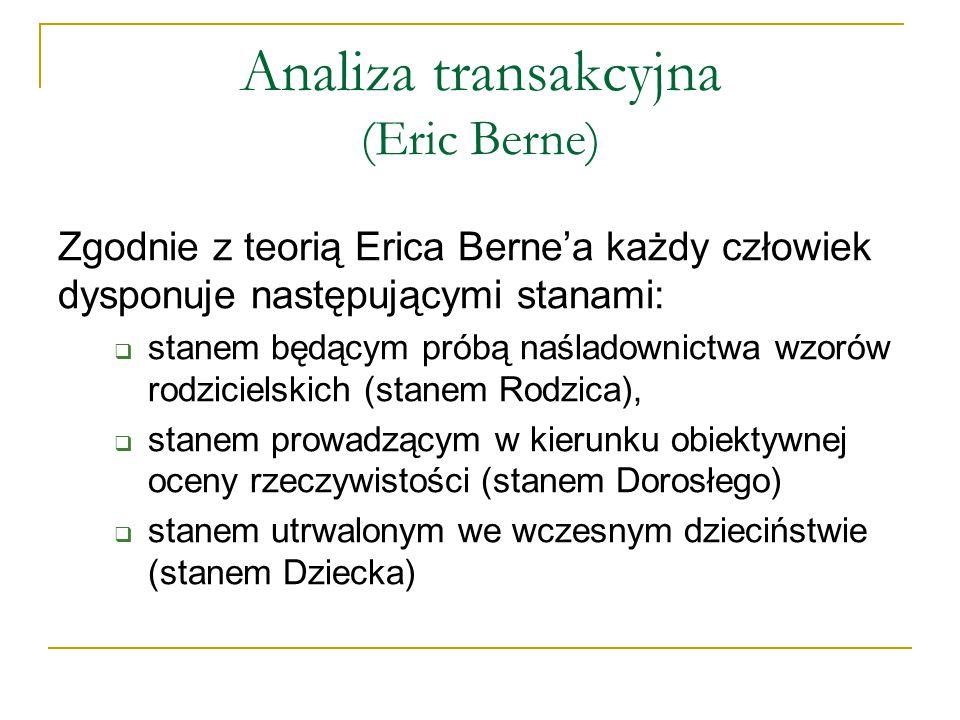 Analiza transakcyjna (Eric Berne) Zgodnie z teorią Erica Berne'a każdy człowiek dysponuje następującymi stanami:  stanem będącym próbą naśladownictwa