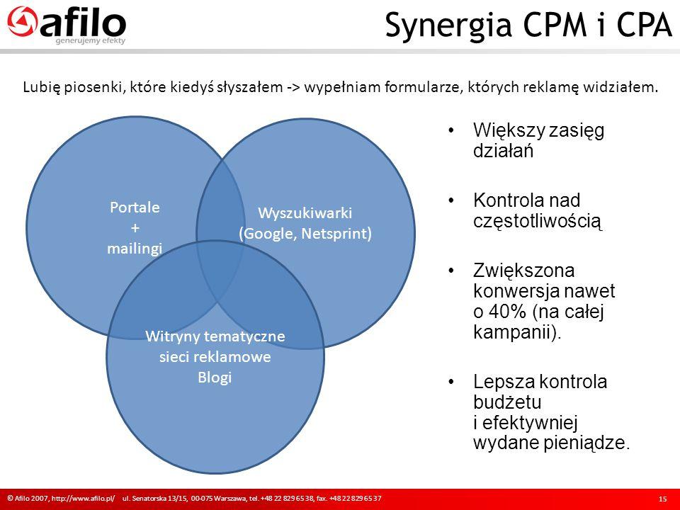 Synergia CPM i CPA © Afilo 2007, http://www.afilo.pl/ ul. Senatorska 13/15, 00-075 Warszawa, tel. +48 22 829 65 38, fax. +48 22 829 65 37 15 Portale +