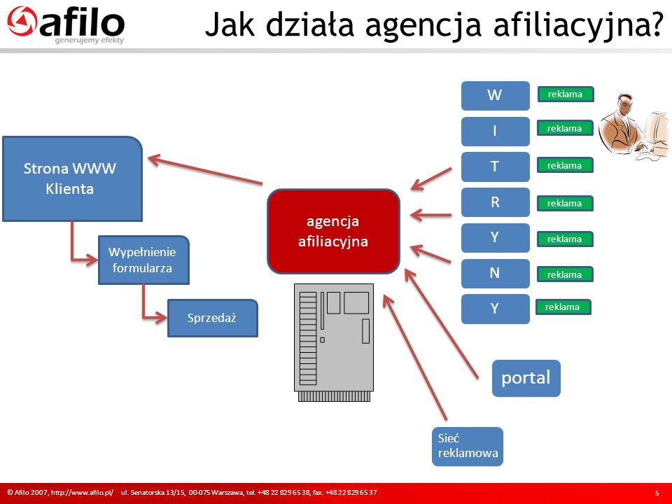 Jak działa agencja afiliacyjna? © Afilo 2007, http://www.afilo.pl/ ul. Senatorska 13/15, 00-075 Warszawa, tel. +48 22 829 65 38, fax. +48 22 829 65 37