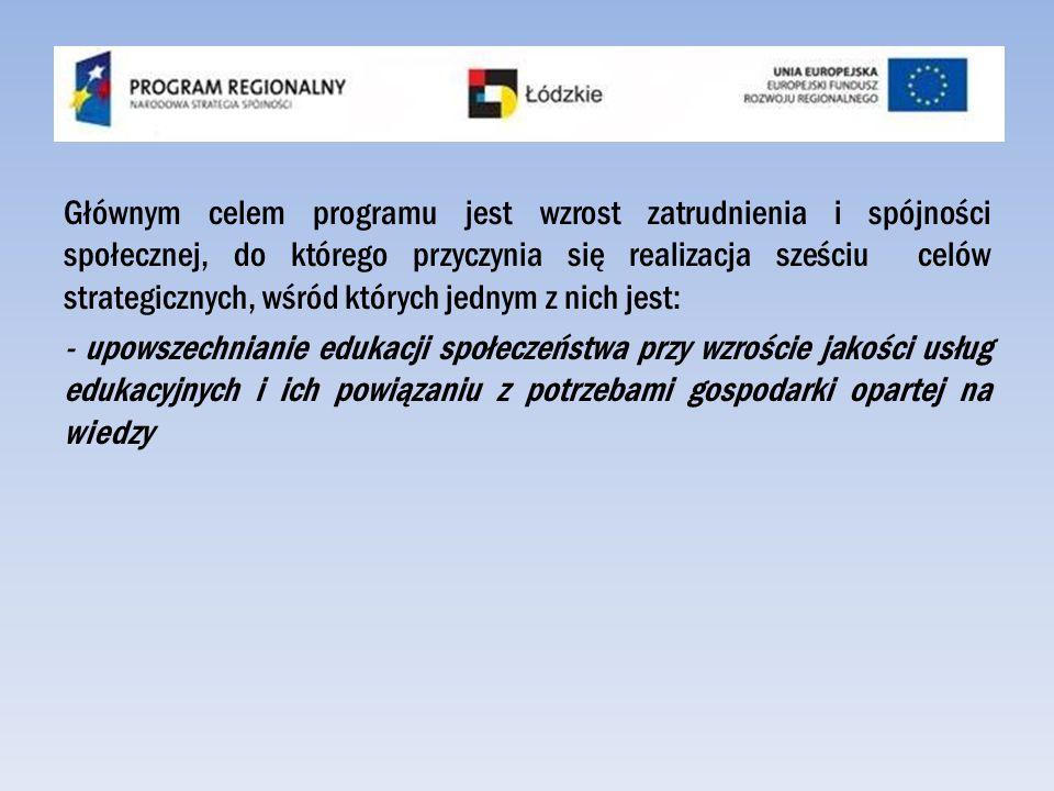 Głównym celem programu jest wzrost zatrudnienia i spójności społecznej, do którego przyczynia się realizacja sześciu celów strategicznych, wśród których jednym z nich jest: - upowszechnianie edukacji społeczeństwa przy wzroście jakości usług edukacyjnych i ich powiązaniu z potrzebami gospodarki opartej na wiedzy