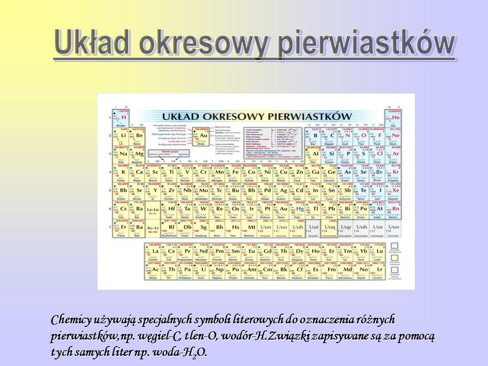 Chemicy używają specjalnych symboli literowych do oznaczenia różnych pierwiastków,np. węgiel-C, tlen-O, wodór-H.Związki zapisywane są za pomocą tych s