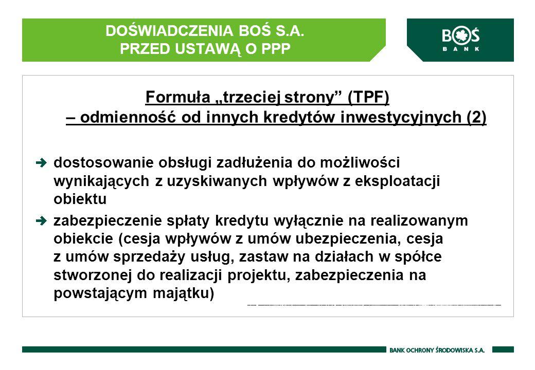 """DOŚWIADCZENIA BOŚ S.A. PRZED USTAWĄ O PPP Formuła """"trzeciej strony"""" (TPF) – odmienność od innych kredytów inwestycyjnych (2) dostosowanie obsługi zadł"""