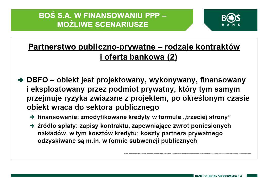 BOŚ S.A. W FINANSOWANIU PPP – MOŻLIWE SCENARIUSZE Partnerstwo publiczno-prywatne – rodzaje kontraktów i oferta bankowa (2) DBFO – obiekt jest projekto
