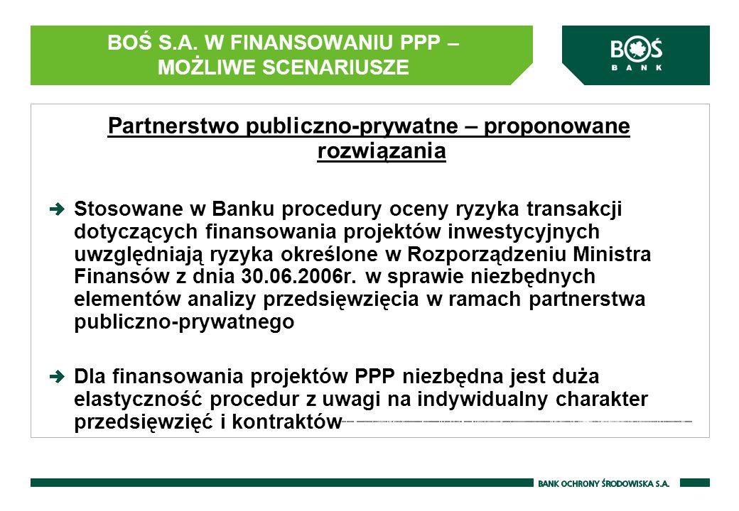 BOŚ S.A. W FINANSOWANIU PPP – MOŻLIWE SCENARIUSZE Partnerstwo publiczno-prywatne – proponowane rozwiązania Stosowane w Banku procedury oceny ryzyka tr