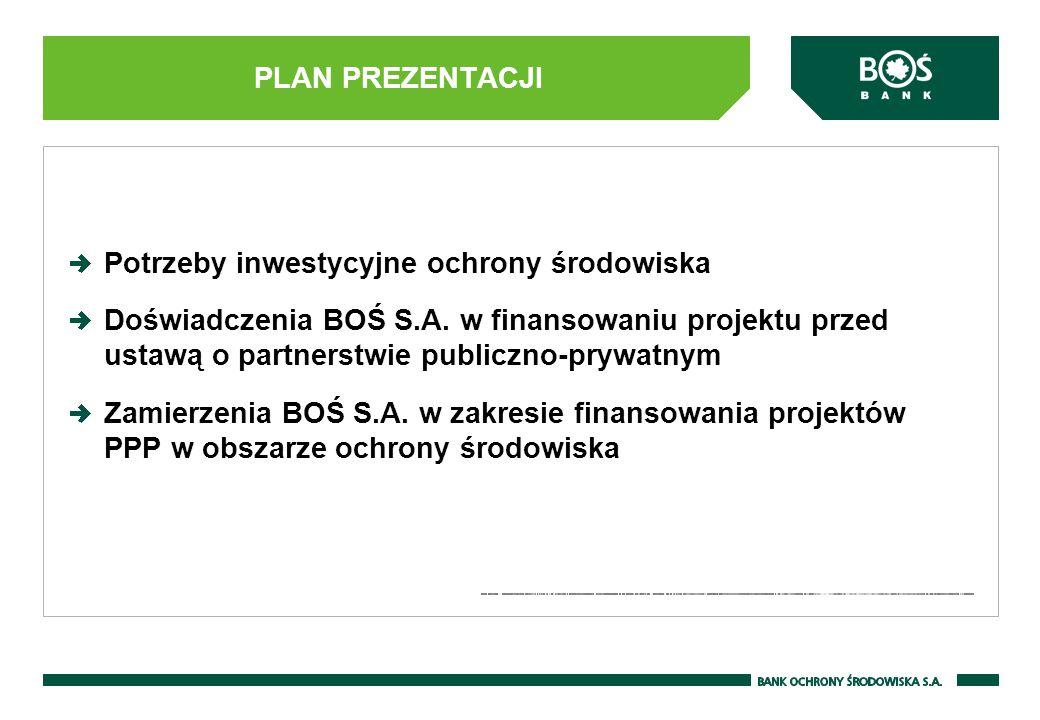 PLAN PREZENTACJI Potrzeby inwestycyjne ochrony środowiska Doświadczenia BOŚ S.A. w finansowaniu projektu przed ustawą o partnerstwie publiczno-prywatn