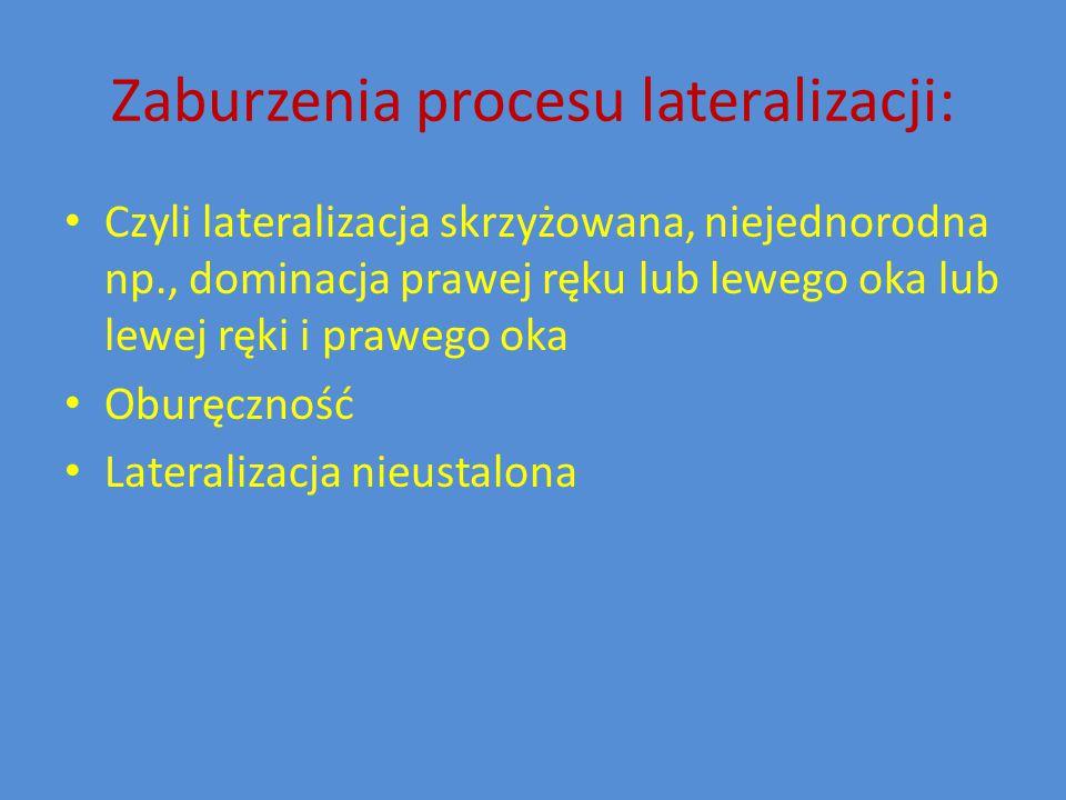 Zaburzenia procesu lateralizacji: Czyli lateralizacja skrzyżowana, niejednorodna np., dominacja prawej ręku lub lewego oka lub lewej ręki i prawego oka Oburęczność Lateralizacja nieustalona