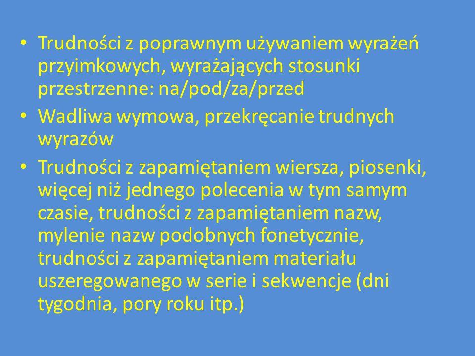 Trudności z poprawnym używaniem wyrażeń przyimkowych, wyrażających stosunki przestrzenne: na/pod/za/przed Wadliwa wymowa, przekręcanie trudnych wyrazó