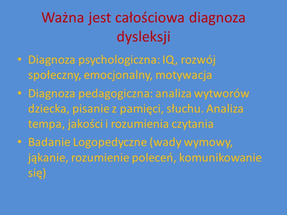 Ważna jest całościowa diagnoza dysleksji Diagnoza psychologiczna: IQ, rozwój społeczny, emocjonalny, motywacja Diagnoza pedagogiczna: analiza wytworów dziecka, pisanie z pamięci, słuchu.