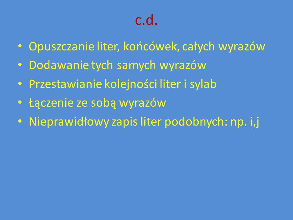c.d. Opuszczanie liter, końcówek, całych wyrazów Dodawanie tych samych wyrazów Przestawianie kolejności liter i sylab Łączenie ze sobą wyrazów Niepraw
