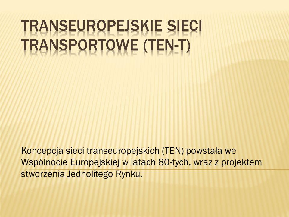 Koncepcja sieci transeuropejskich (TEN) powstała we Wspólnocie Europejskiej w latach 80-tych, wraz z projektem stworzenia Jednolitego Rynku.