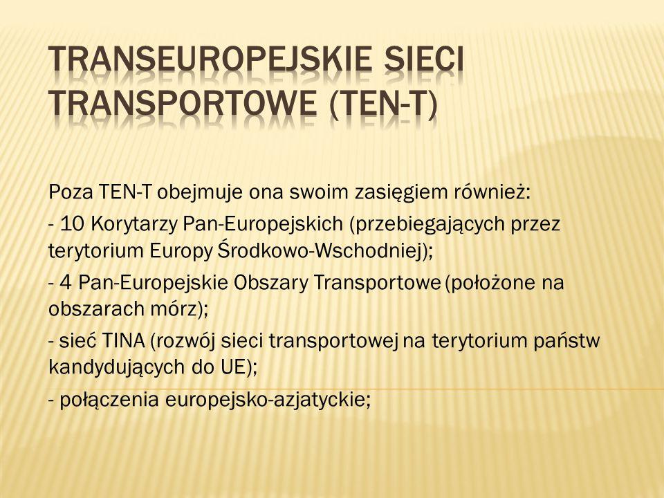 Poza TEN-T obejmuje ona swoim zasięgiem również: - 10 Korytarzy Pan-Europejskich (przebiegających przez terytorium Europy Środkowo-Wschodniej); - 4 Pa