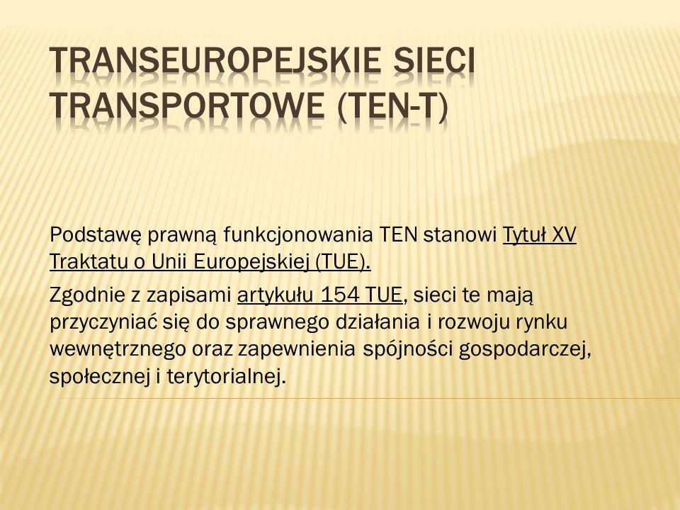 Podstawę prawną funkcjonowania TEN stanowi Tytuł XV Traktatu o Unii Europejskiej (TUE). Zgodnie z zapisami artykułu 154 TUE, sieci te mają przyczyniać