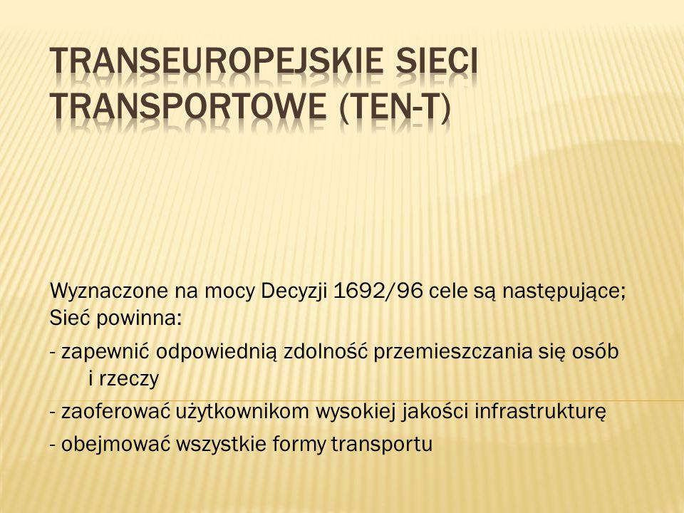 Wyznaczone na mocy Decyzji 1692/96 cele są następujące; Sieć powinna: - zapewnić odpowiednią zdolność przemieszczania się osób i rzeczy - zaoferować u