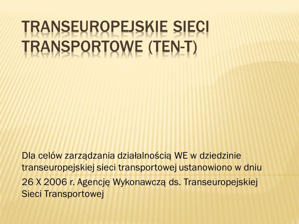 Dla celów zarządzania działalnością WE w dziedzinie transeuropejskiej sieci transportowej ustanowiono w dniu 26 X 2006 r. Agencję Wykonawczą ds. Trans