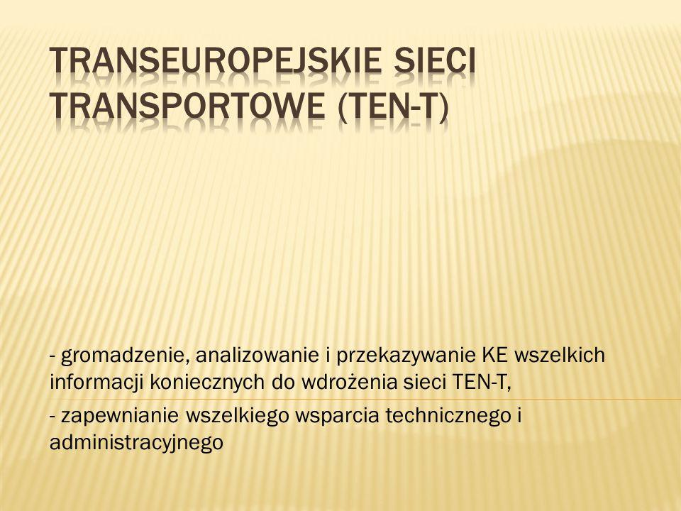 - gromadzenie, analizowanie i przekazywanie KE wszelkich informacji koniecznych do wdrożenia sieci TEN-T, - zapewnianie wszelkiego wsparcia techniczne