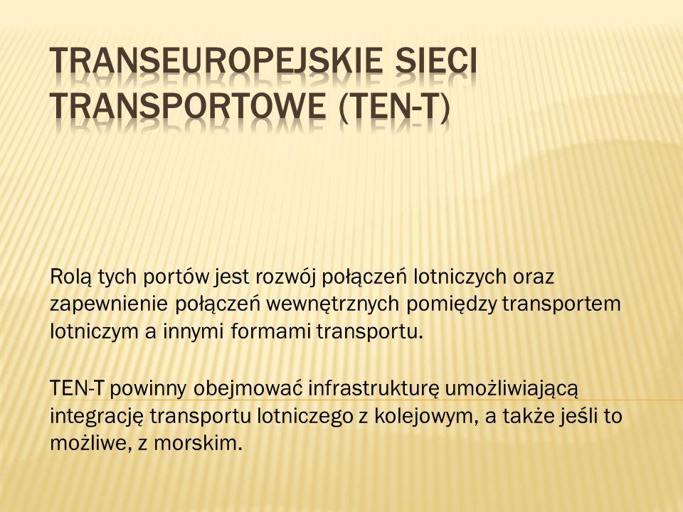 Rolą tych portów jest rozwój połączeń lotniczych oraz zapewnienie połączeń wewnętrznych pomiędzy transportem lotniczym a innymi formami transportu. TE